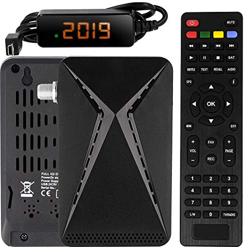 Echosat OM-26100 Mini Sat Receiver -DVB S/S2 Satelliten Receiver Full HD 1080 P HDMI 2 x USB 2.0 HDTV [Digital Satelliten Receiver] 🛰️{Astra Hotbird Türksat }🛰️-Schwarz