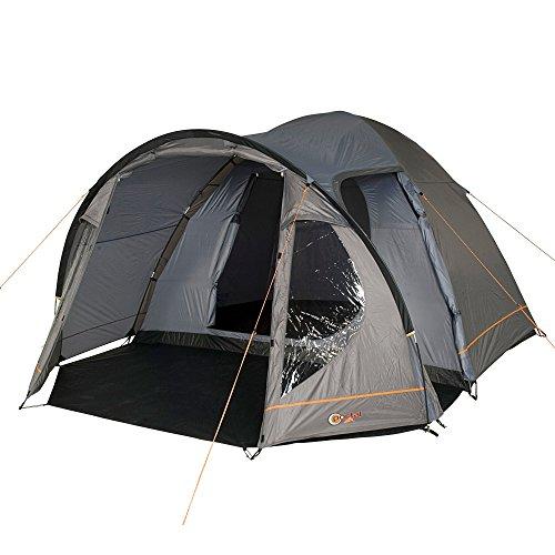 Portal Camping-Zelt Delta 4 Kuppelzelt mit Schlafkabine für 3 Personen Outdoor Familienzelt mit Wohnraum, Dauerbelüftung, Bodenplane, Wasserdicht mit 4000mm Wassersäule