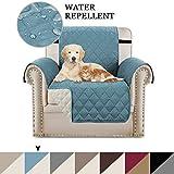Sofabezüge Schonbezüge Reversible Gesteppte Möbelschutzfolie, Wasserabweisend, Verbesserte elastische Gurte für Couch Shield, Anti-Rutsch-Schaumstoffbezug (1 Sitzer, Rauchblau/Beige)