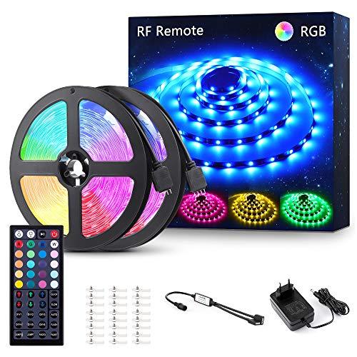 Novostella LED Streifen RGB LED Strip 12m(2x6M) 12V Dimmbar mit 44 Tasten RF Fernbedienung 5050 SMD 360 LEDs Lichtleiste Band Lichterkette mit Netzteil Innenbeleuchtung für Deko Party Weihnachten