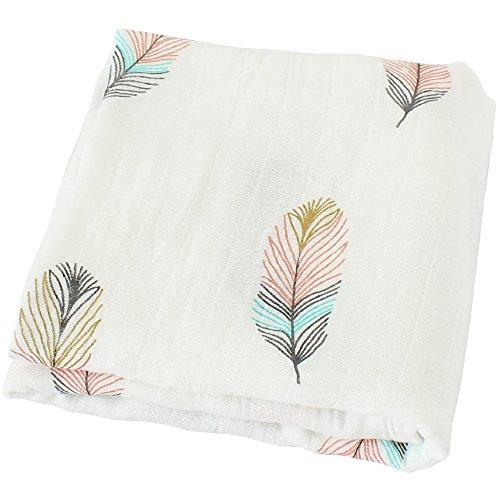 LifeTree Baby Musselin Swaddle Decke Tücher- 120x120 cm 'Feder Design' Baby Bambus Baumwolle Swaddle Wrap, Aufstoßen Tuch & Deck Kinderwagen - Pucktücher für Junge und Mädchen
