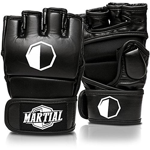 MARTIAL MMA Handschuhe mit hochwertiger Polsterung! Boxhandschuhe für hohe Stabilität im Handgelenk. Freefight Gloves mit langer Haltbarkeit für Kampfsport, Boxen, Kickboxen, Sparring inkl Beutel! (Schwarz, M)