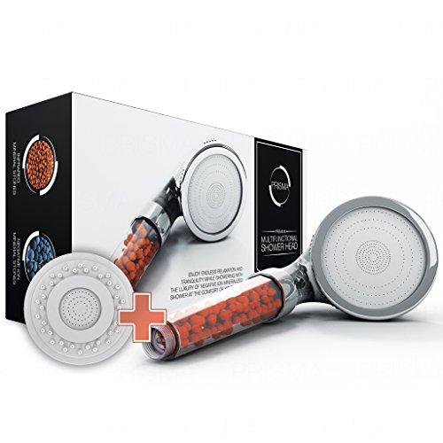 Der einzig wahre PRISMA Premium Duschkopf - Wassersparende ECO Handbrause - Brausekopf mit Druckerhöhung für mehr Wasserdruck - Regendusche und Massage Funktion - Mit Kalkfilter und Ionenfilter