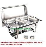 Chafing Dish -Twin-, Edelstahl, bestehend aus: 1 Gestell mit Deckelhalterung, 1 Wasserbecken 2 Speisebehälter GN 1/2 - Tiefe 65 mm + 2 x Brennpaste von Gastro-Bedarf-Gutheil