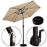 LED Beleuchtung Ampelschirm Sonnenschirm Solarbetrieben Gartenschirm Kurbelschirm Hängeschirm Ø2,7m (Beige)