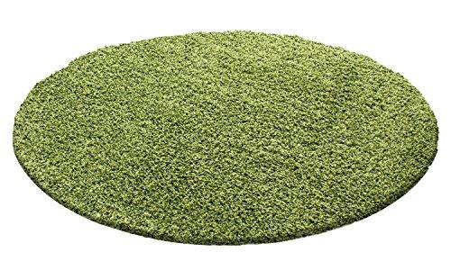 HomebyHome Hochflor Shaggy Rund Teppich Carpet Wohnzimmer vers. Farben & Größen Neu, Farbe:Grün, Größe:160 cm Rund