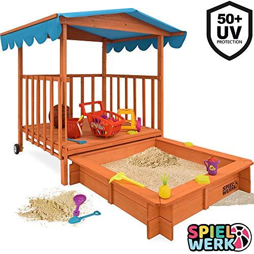 Sandkasten Dach XL | Sonnenschutz UV 50 | rollbare Spielveranda | Spielhaus Sandbox Holz Deckel für Kinder