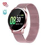 Smartwatch mit Pulsmesser, GOKOO Fitness Armband Wasserdicht IP67 Fitness Tracker Aktivitätstracker Pulsuhren mit Kalorienzähler Schlafmonitor für Damen Herren für IOS Android (Rosa)