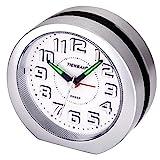 Analog Wecker,Stille Nicht Tickende Reise Wecker 3D-Nummer Display Batteriebetriebene Nachttisch Uhr Snooze und Licht Funktionen Uhr für Kinder Männer Frauen Home Schlafzimmer Büro Uhr(Silber)