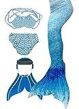 3STEAM Mädchen Meerjungfrauenschwanz Zum Schwimmen mit Meerjungfrau Flosse, Water Blue, 8 (110-120cm)