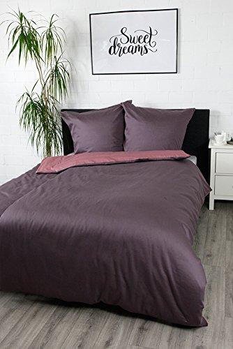 jilda-tex Bettwäsche Satinbettwäsche 100% Baumwolle Wendebettwäsche Unibettwäsche Verschiedene Größen und Farben (Berry, 135 x 200 cm)