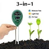 Abafia Bodentester 3 in 1 Bodenmessgerät PH Wert Digitales Boden Feuchtigkeit Meter für Pflanzenerde, Garten, Bauernhof, Rasen (kein Batterien erforderlich)