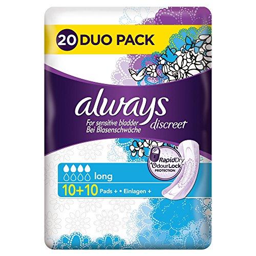 Always Discreet Inkontinenz Einlagen plus Long Bei Blasenschwäche Vorteilspack, 1er Pack (1 x 20 Stück)