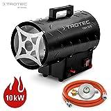 TROTEC 1420000010 Gasheizgebläse TGH 10 E Gas Heizgerät inkl. Verbindungschlauch und Druckminderer (Heizleistung bis 10 kW, 320 m³/h Luftdurchsatz, für handelsübliche Gasflaschen, Piezozündung)