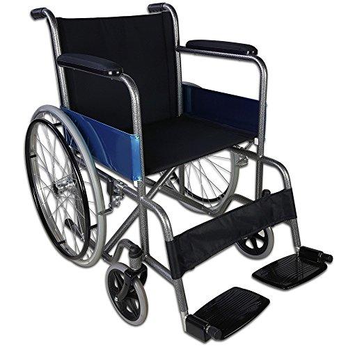 Zusammenfaltbarer Rollstuhl aus Stahl, Modell Alcázar   Sitzbreite: 46 cm   Höhe: 86 cm   Maximale Belastbarkeit: 100 kg