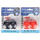 TBoonor LED Lampe Licht LED Sicherheitslicht LED Kinderwagen Set Silikon Leuchte Kinderwagen 4 Stück Kinderwagen(2X LED Weißlicht & 2X LED rotlicht) Blinklicht Taschenlampe