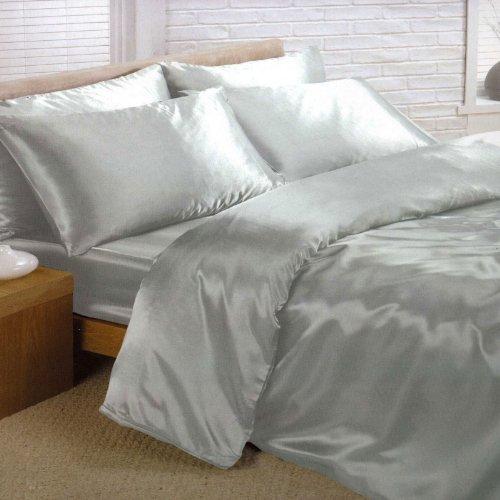 DELUXE Satin 6 teilge Silber Bettwäsche 200x200 + Bettlaken + 4 Kissenbezüge NEU Doppelbett