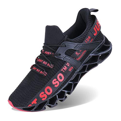 Wonesion Herren Fitness Laufschuhe Atmungsaktiv Rutschfeste Mode Sneaker Sportschuhe, 6-rot, 43 EU
