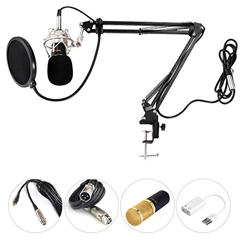 Voilamart MC-05 Mikrofon-Set Einstellbarer Mikrofonhalter Kondensator Mikrofon Kit Professional Studio Broadcast Aufnahme Kondensator Mikrofon Radaufhängung Schere Ständer Shock Mount Mic Filter Ball Schaumstoff Gap