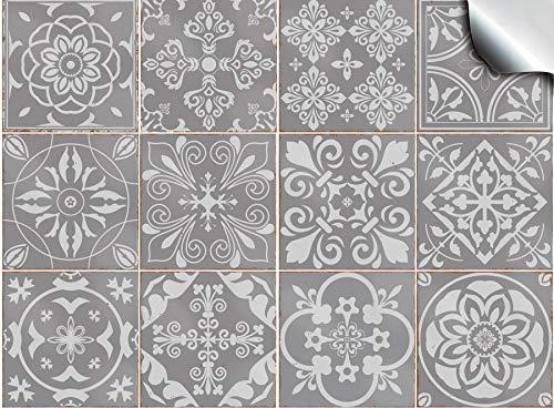 Tile Style Decals Mosaik Wandfliese Aufkleber (T1 - Grey) für 15x15cm Fliesen | 24 stück Fliesenaufkleber für Bad und Küche | Deko Fliesenfolie für Bad u. Küche