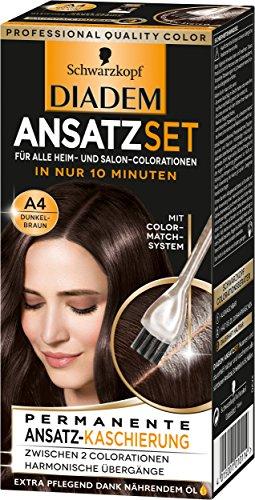 Schwarzkopf Diadem Ansatzset Haarfarbe, A4 Dunkelbraun, 3er Pack (3 x 22 ml)
