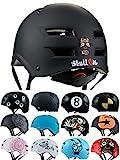 Skullcap BMX Helm  Skaterhelm  Fahrradhelm , Herren | Damen | Jungs & Kinderhelm, schwarz matt & glänzend (Dark World, L (56 - 58 cm))