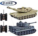 s-idee 22001 2 x Battle Panzer 99822 1:28 mit integriertem Infrarot Kampfsystem 2.4 Ghz RC RC Ferngesteuerter Panzer Tank Kettenfahrzeug IR Schussfunktion Licht 1:24 Schuss Sound Beleuchtung