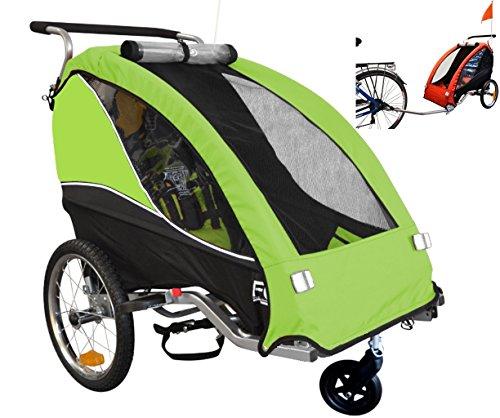 Papilioshop Fox Radanhänger für 1Kind, Vorderrad drehbar, Kinderanhänger für das Fahrrad, klappbarer Anhänger mit Türöffnung, grün