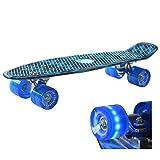Retro Kinder Skateboard Mini Cruiser (Blau) mit LED Leuchtrolle