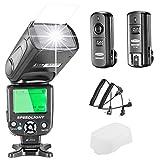 Neewer E-TTL Speedlite Blitz für Canon DSLR-Kamera, Set beinhaltet: 1 sNW-562Blitz, 1x 2,4GHz kabelloser Auslöser (1Sender + 1Empfänger),1x Mikrofasertuch
