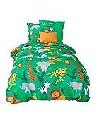 Aminata Kids Kinder-Bettwäsche 100-x-135 cm Zoo-Tier-e Safari Waldtier-e Dschungel Baby-Bettwäsche 100-% Baumwolle Renforce Bunte grün gelb Weiss Junge-n und Mädchen Elefant-en