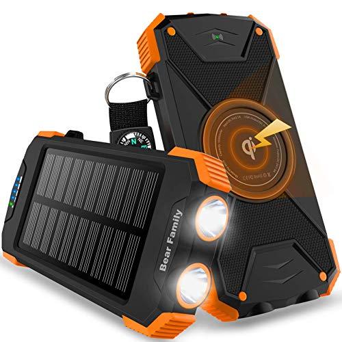 Bear family Handy-Solarladegeräte, Wireless Power Bank 10000mAh, Tragbare Externer Akku mit Type-C Eingang, LED-Taschenlampe, Kompass für iPhone, Huawei und andere Smartphones/Handys (Orange)
