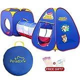 Peradix Spielzelt Spielhaus Babyzelt 3-Teiliges Bällebad Kinderzelt mit Tasche und Tunnel(Ohne Bälle)