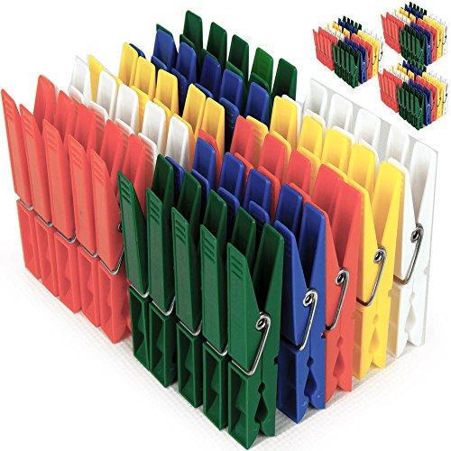 200x Deuba Wäscheklammern aus Kunststoff - Wäscheklammer Klammern • extra starke Feder mit verzinktem Stahldraht • 5 verschiedene Farben • witterungsbeständig