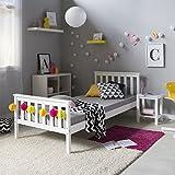 Homestyle4u Kiefer massiv Rahmen Single Sofa im Shaker-Stil, Holz, Weiß, 206x 96x 30cm