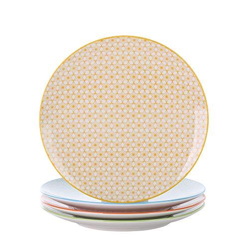 Vancasso Natsuki 4-teilig Porzellan Speiseteller, Ø 27 cm Groß Flachteller, Tellerset