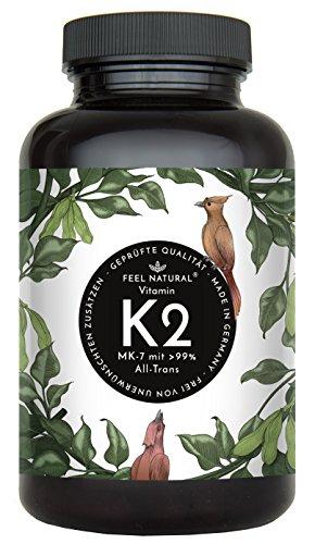 Vitamin K2 MK7-365 Kapseln. Hochdosiert mit 200µg (mcg) je Kapsel. 99% All-Trans, aus Fermentation. Aktionspreis. Laborgeprüft, ohne Zusätze wie Magnesiumstearat. Vegan, hergestellt in Deutschland