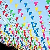 TK Gruppe Timo Klingler XXL Wimpelkette 100 Meter bunt Girlande Banner Fahne zum Aufhängen Indoor & Outdoor als Deko Dekoration für Feste, Party & Geburtstage UVM.
