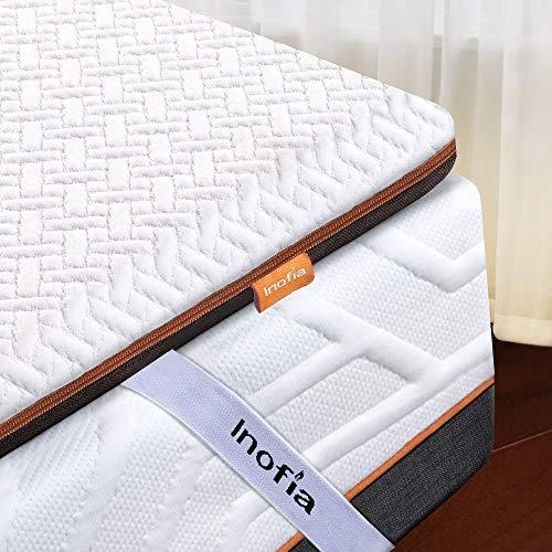 Inofia Matratzentopper 140x200 Matratzenauflage Memory Foam Topper 6cm Matratzen Topper,2cm Naturbrown Airyfoam+4cm Biogrey Reliefoam, 100 Nächte Probeschlafen,10 Jahre Garantie(140 x 200 cm)