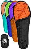 Hyke & Byke 800 Fill Power Gans Daunenschlafsack - Eolus -15 & -10 Grad F Ultraleicht Mumie Taschen für Backpacking (-10 Degree C (Black/Clementine) …, Lang)