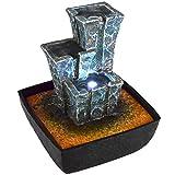Agora-Tec Wasserspiel & Zimmerbrunnen 'STONEHENGE' mit tempelartig angeordneten Felssteinen mit LED Beleuchtung, sehr angenehmer leiser Wasserlauf 21 cm hoch
