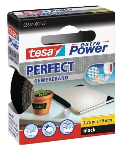 Tesa extra Power Gewebeband, Länge 2,75 m, Breite 19 mm, schwarz