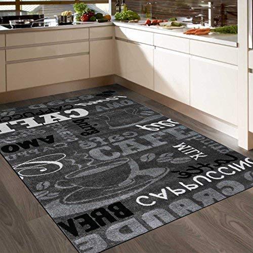 Teppich Modern Sisal Optik Küchenteppich Küchenläufer Coffee Grau Weiss Schwarz Töne spiegelverkehrt 80x150 cm