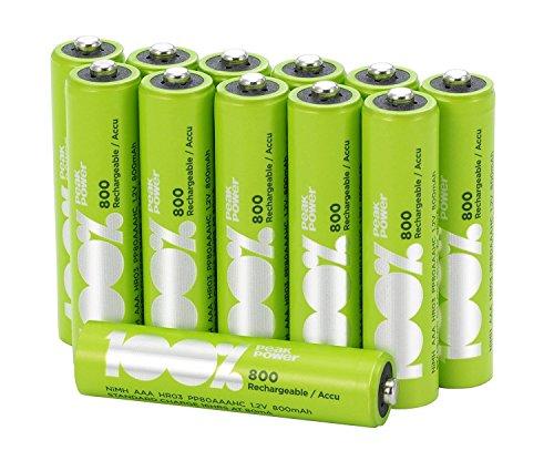 100% PeakPower Akku Batterien AAA/Micro, NiMH, 12 Stück wiederaufladbar, 1,2 Volt (1,2V), 800mAh, LSD Technologie, Ready-to-Use - Akkus bereits vorgeladen, sofort nutzbar