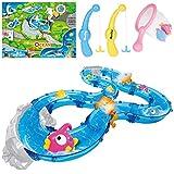 iBaseToy Angelspielzeug für Kleinkinder, buntes schwimmendes Badespielzeug mit Wasserspur, Fischen, 2 Fischstraßen und mehr - Badewanne, Yard oder Pool Party Fischspielzeug Spielset für Kinder