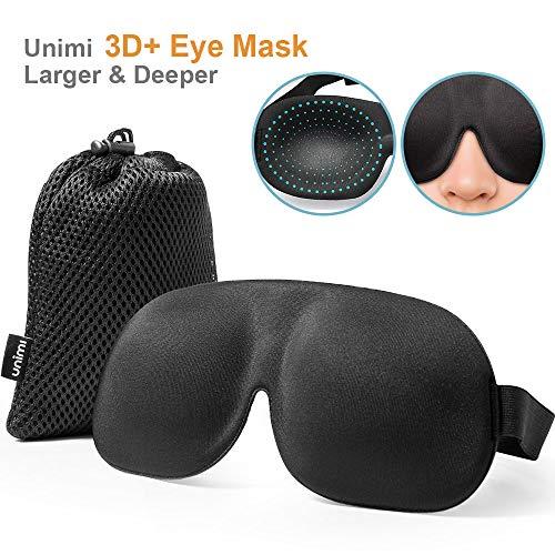 Schlafmaske für Damen & Herren, UNIMI 3D PLUS Geformte Augenmaske, Augenabdeckung Schlafmaske & Augenbinde, mehr Platz für die Augen, festere Passform auf Ihrer Nase - Schwarz