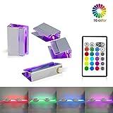 LED Glasbodenbeleuchtung,LED Vitrinenbeleuchtung 4er Set LED Clip RGB LED Farbwechsel Glasbodenleuchte LED Möbelbeleuchtung