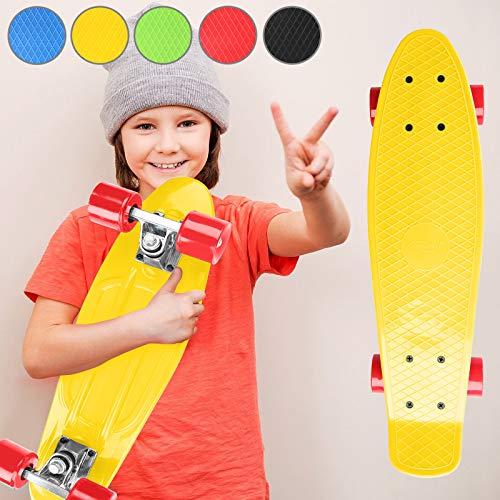 Physionics Skateboard - 22' (57cm), Kugellager: ABEC 5, Farbwahl - Retro-Board, Mini Cruiser, Cruiser Board, Komplettboard