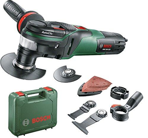 Bosch Multifunktionswerkzeug PMF 350 CES (3x Sägeblätter, Schleifplatte, 6x Schleifpapiere, Koffer, für Starlock und Starlock Plus Zubehör, 350 Watt)