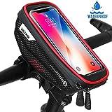 Faneam Handytasche Fahrrad Wasserdicht Fahrrad Lenkertasche Handy mit Touch-Screen Oberrohrtasche Fahrrad Handyhalterung für iPhoneXS MAX/XR/X/8/7/Samsung S9/S8 bis zu 6,5' Smartphone, Rot